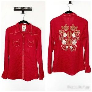 Ariat Fitted Red Embroidered Burton Down Top Small